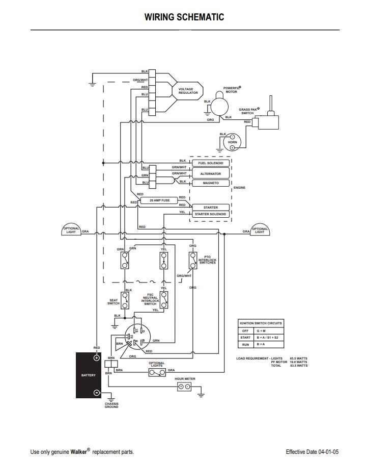 bobcat mower wiring diagrams 2005 to 2011 walker ms wiring schematic propartsdirect  2005 to 2011 walker ms wiring schematic